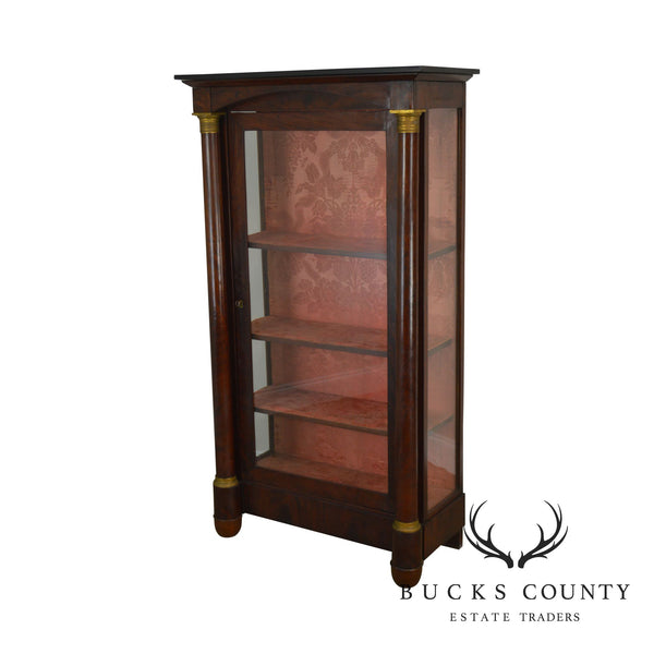 19th Century Antique Empire Mahogany Column Front Bookcase China Cabinet