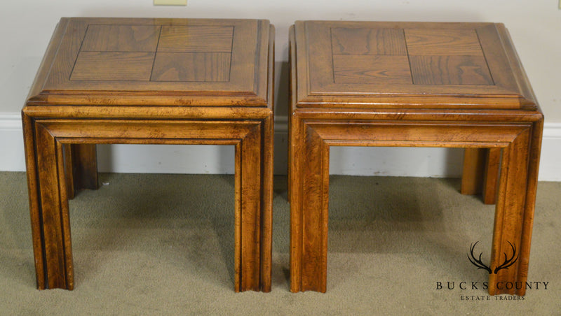 Lane Parsons Style Mid Century Modern Pair Low Square Side Tables