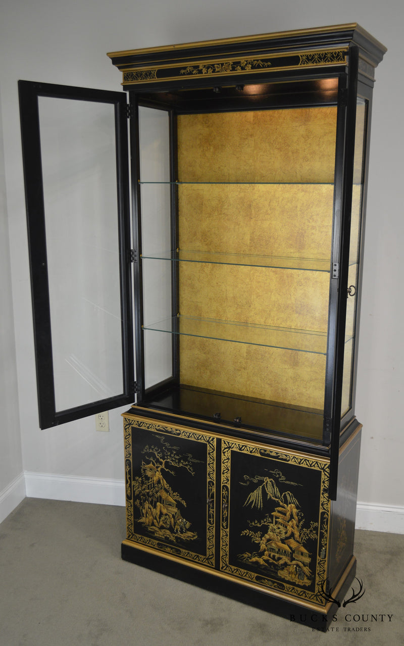 Drexel Heritage Et Cetera Black & Gold Chinoiserie Painted Curio China Cabinet