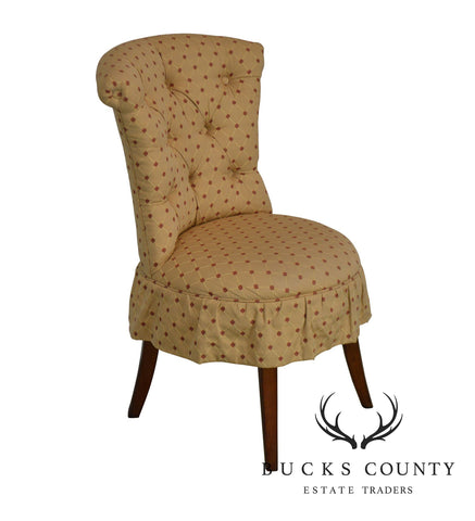 Hickory Chair Co. Custom Upholstered Gold & Red Tufted Vanity Chair