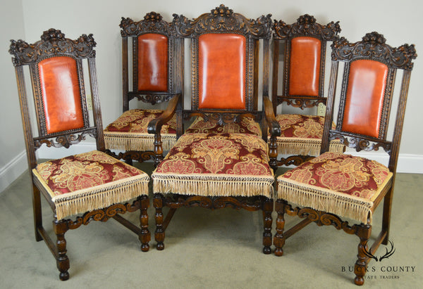 Victorian Renaissance Revival Set of 6 Carved Oak Dining Chairs