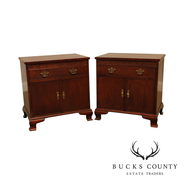 Baker Mahogany Chippendale Style Nightstands
