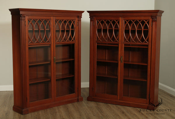 Antique Pair Architectural Form Cherry Wood 2 Door Bookcases