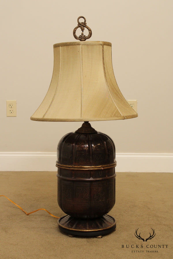 John Richard Asian Inspired Incised Brass Table Lamp