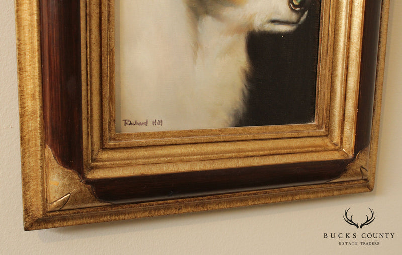Richard Hill Dog Portrait Framed Oil Painting