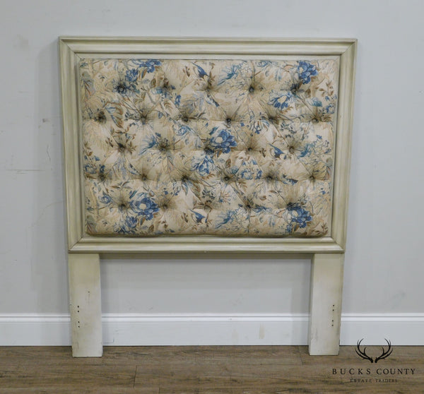 Hickory Chair Company Painted, Custom Tufted Upholstered Twin Headboard
