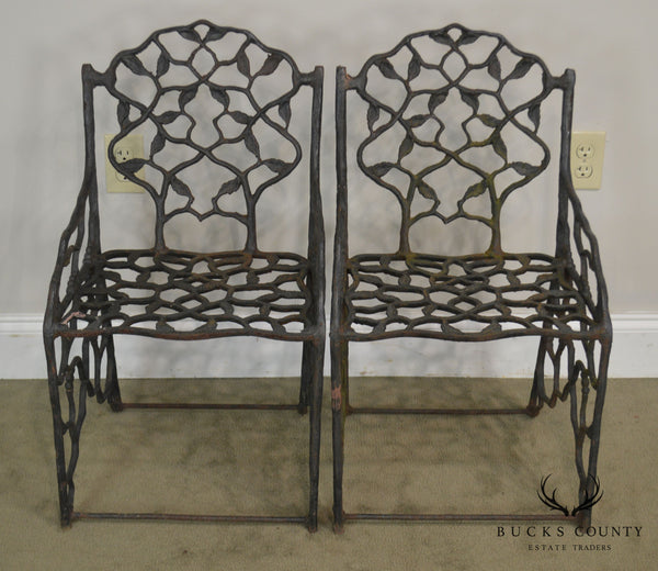 "Antique Cast Iron Faux Bois ""Twig"" Garden Armchairs"