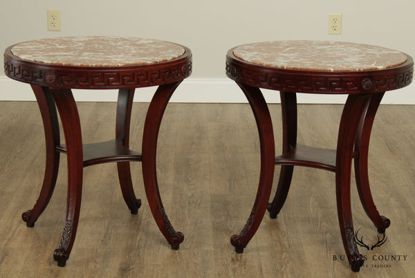 Vintage Greek Revival Neo-Classical Style Pair Round Marble Top Side Tables