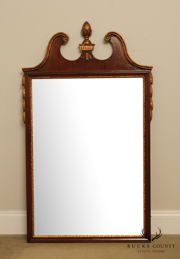 Friedman Brothers Vintage Georgian Style Mahogany, Partial Gilt Wall Mirror #5488