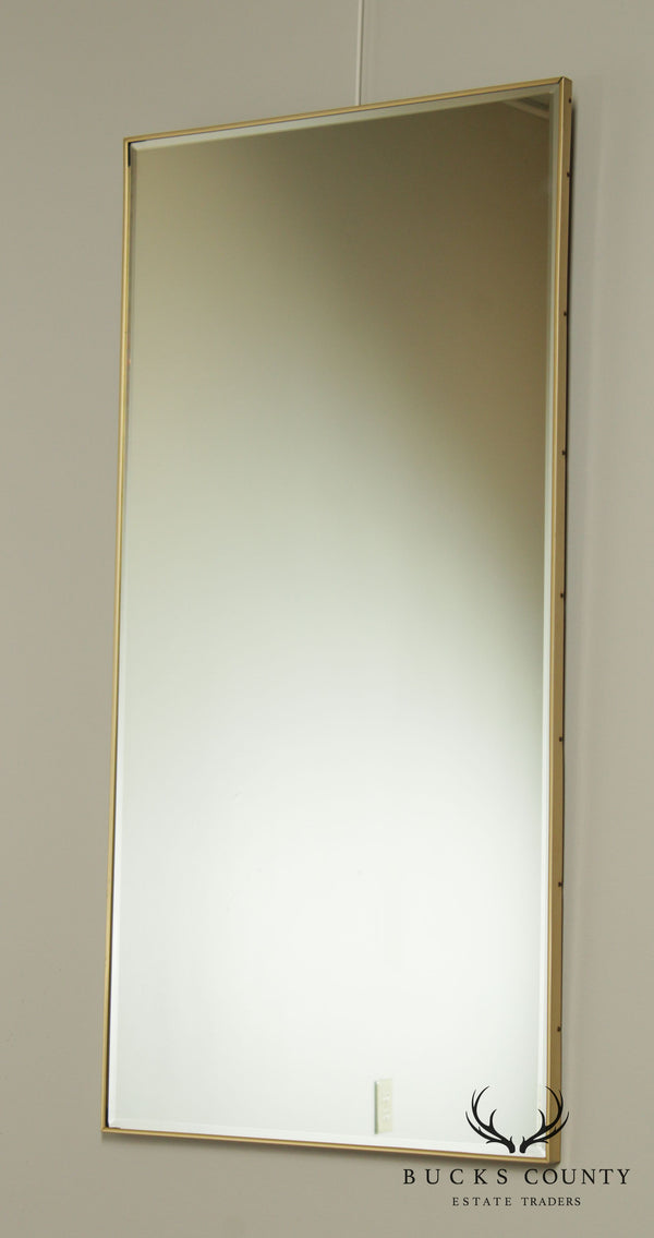 Mid Century Modern Brushed Brass Beveled Wall Mirror