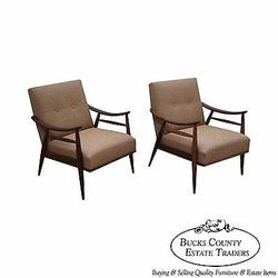 Mid Century Modern Pair of Walnut Frame Lounge Chairs