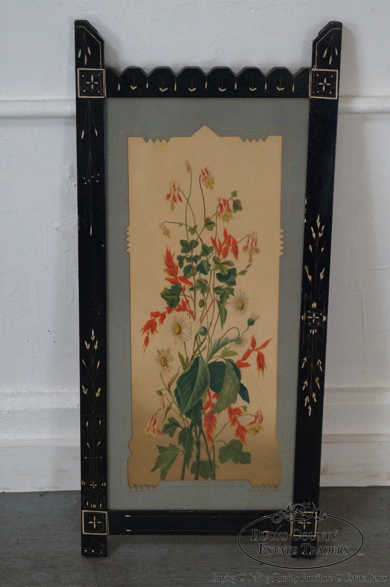 Antique Pair of Ebonized Aesthetic Framed Floral Prints