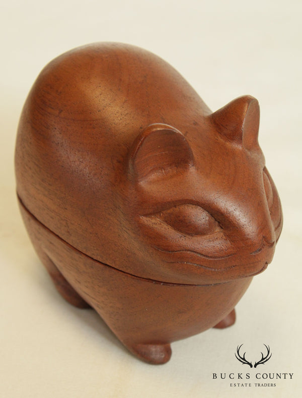 Danish Modern Teak Wood Small Carved Mouse or Rodent Sculpture Box