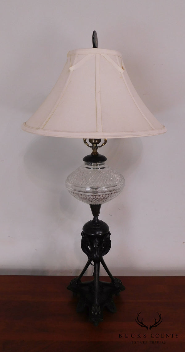 Aesthetic Movement Stork/Crane Figural Black Painted Bronze Table Lamp with Shade