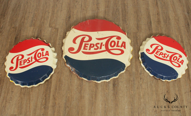 Pepsi Cola Vintage Set 3 Metal Bottle Cap Signs, Stout