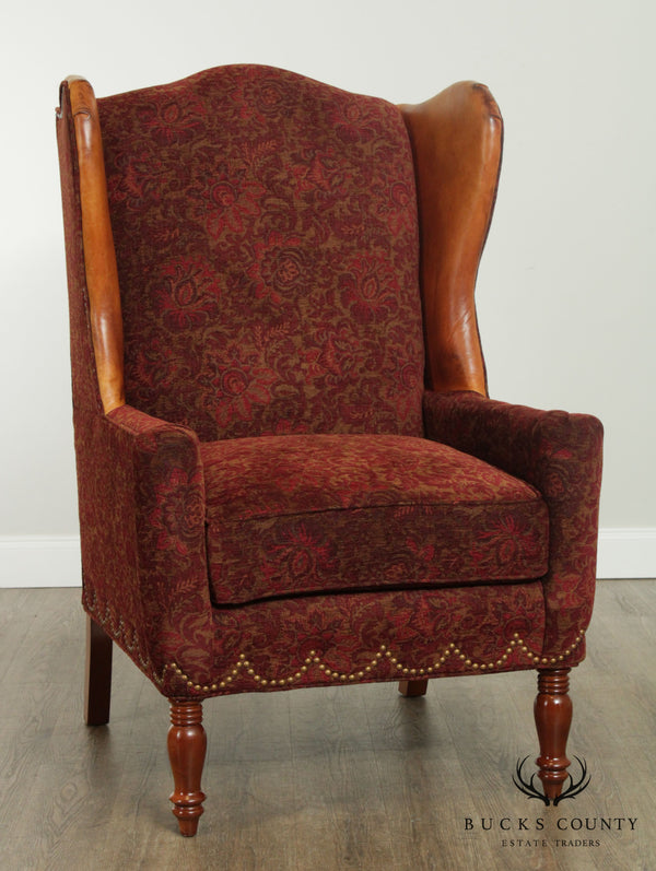 William Allen English Regency Style Custom Upholstered & Leather Wingback Chair