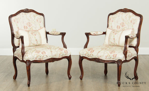 Woodmark Originals French Louis XV Style Custom Upholstered Pair Fauteuils Armchairs