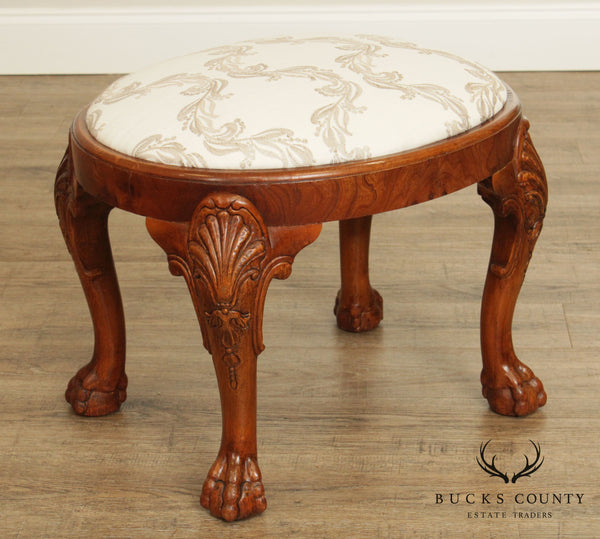 Georgian Style Oval Walnut Ball and Claw Carved Stool