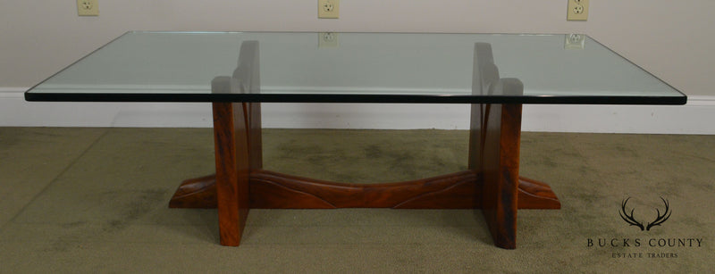 Robert Whitley Mid Century Studio Crafted Walnut Glass Top Coffee Table