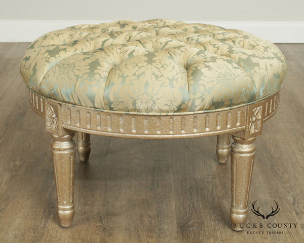 French Louis XVI Style Silver Leaf Round Tufted Ottoman