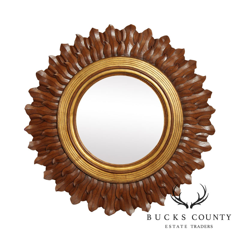 Large Sunburst Round Beveled Wall Mirror