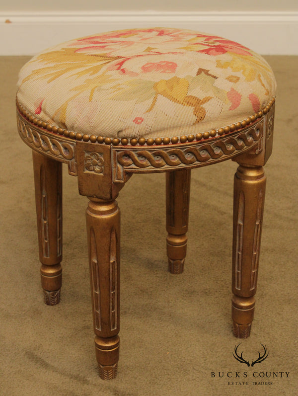French Louis XVI Style Round Stool, Vanity Bench