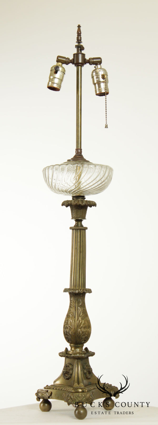 Antique 19th Century French Bronze Astral Table Lamp