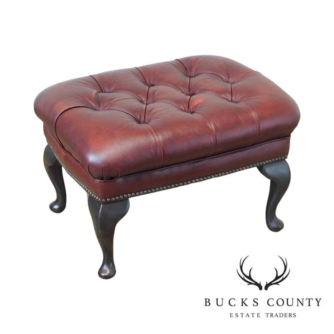 Pendragon Tufted Leather Chesterfield Queen Anne Ottoman