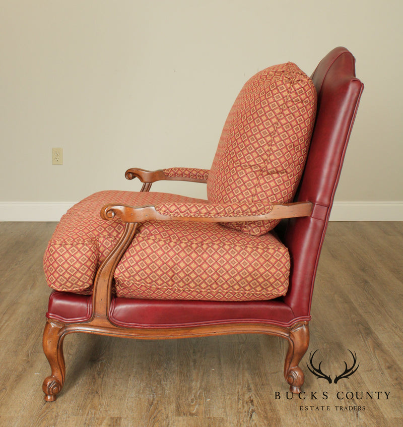 Ethan Allen French Louis XV Wide Seat Leather & Upholstered Fauteuil Chair