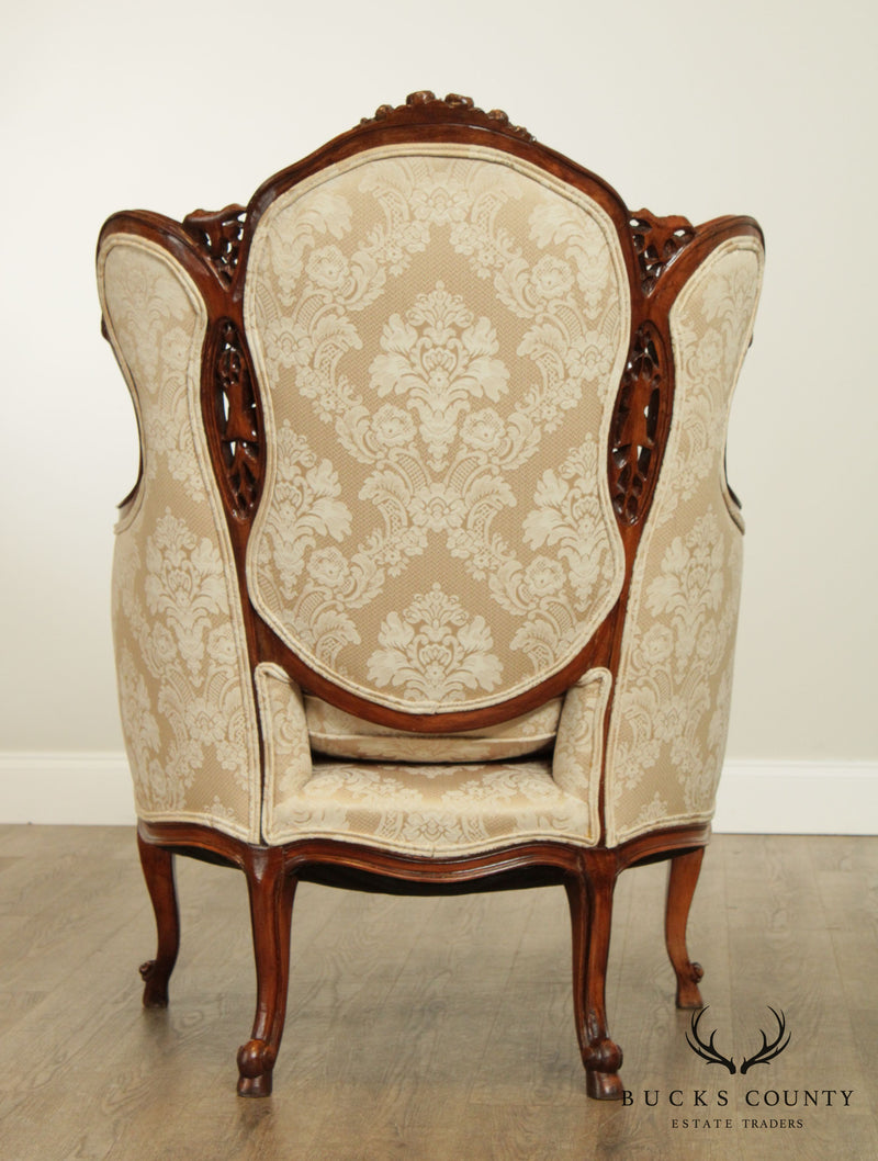 1940's French Rococo Revival Louis XV Style Carved Bergere Wing Chair