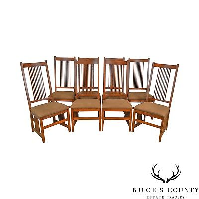 Pennsylvania House Mission Oak Style Set of 8 Spindle Back Dining Chairs