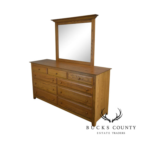 Spring Mill Furniture Hand Crafted Solid Oak Dresser with Mirror