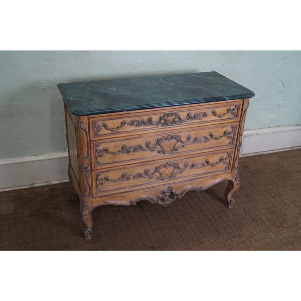 Vintage Custom Quality Rococo Style Bachelors Chest w/ Faux Marble Painted Top