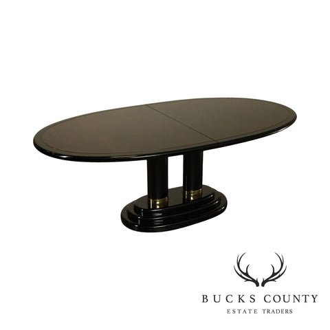 Henredon Burl Walnut, Black Lacquered Scene Three Oval Pedestal Dining Table