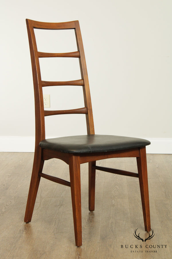 Mid Century Modern Vintage Walnut Ladder Back Side Chair