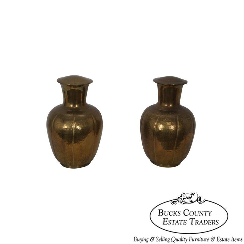 Vintage Pair of Asian Brass Urns Covered Vases