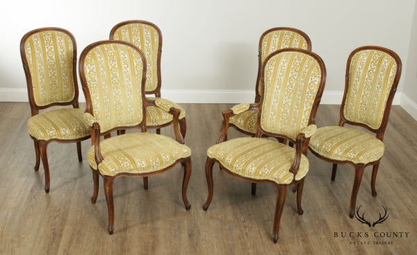 Baker French Louis XV Style Vintage Set 6 Walnut Dining Chairs
