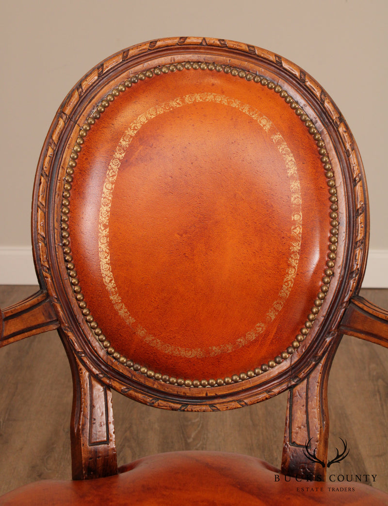 Chateau D'ax French Louis XVI Style Leather Armchair (A)
