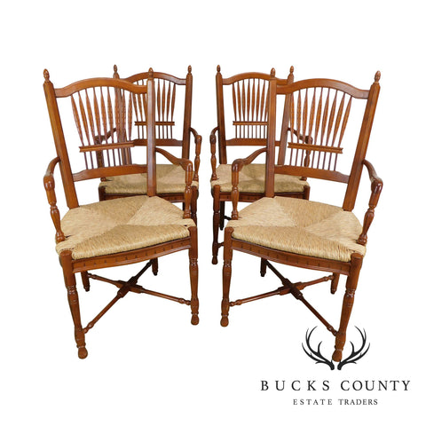 French Country Style Quality Set of 4 Wheat Sheaf Rush Seat Dining Chairs