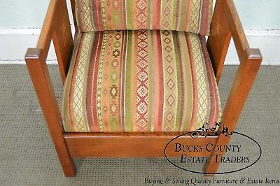 Stickley Mission Collection Harvey Ellis Inlaid Oak Cube Chair