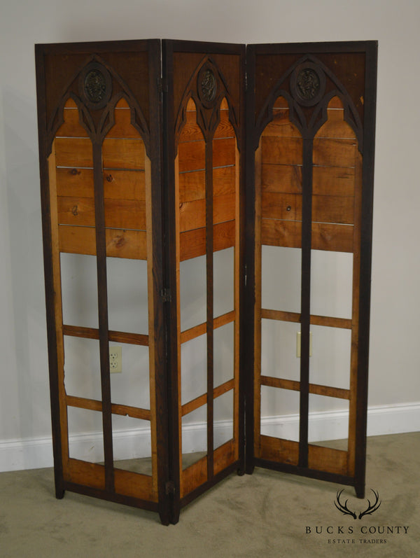 Gothic Renaissance Revival Antique Oak Folding Screen with Bronze Plaques