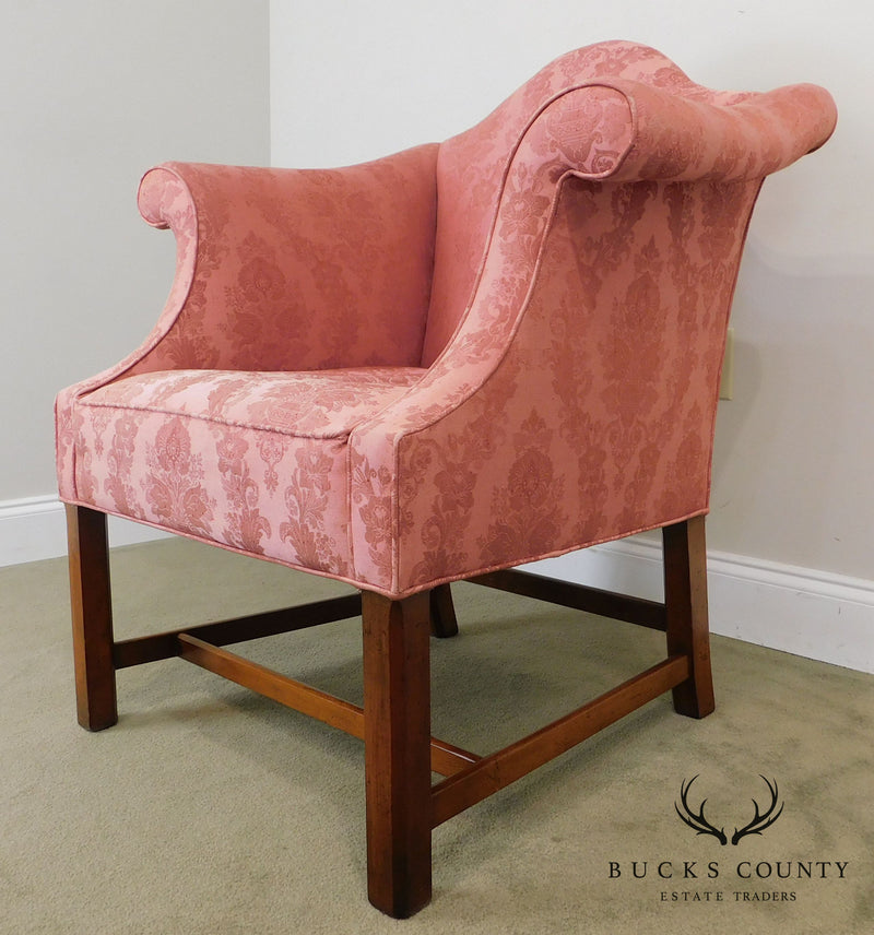 Chippendale Style Custom Mahogany Pair of Library Club Chairs