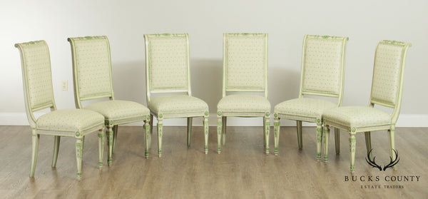 French Louis XVI Style Vintage Set 6 Custom Green Painted Dining Chairs