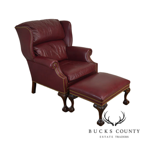 Hancock & Moore Chippendale Style Red Leather Ball & Claw Wing Chair with Ottoman
