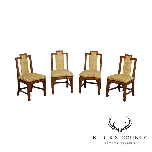 Asian Inspired Set 4 High Quality Faux Painted Dining Chairs
