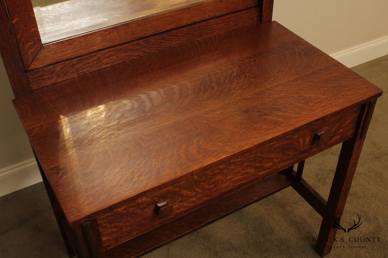 Stickley Antique Mission Oak Dressing Table with Mirror