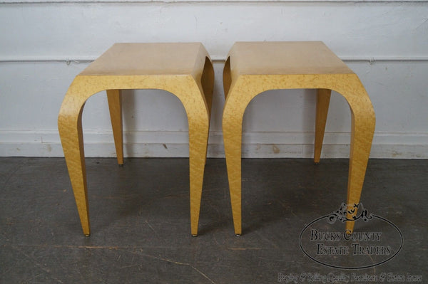 Studio Crafted Pair of Birdseye Maple Art Deco Style Console Tables