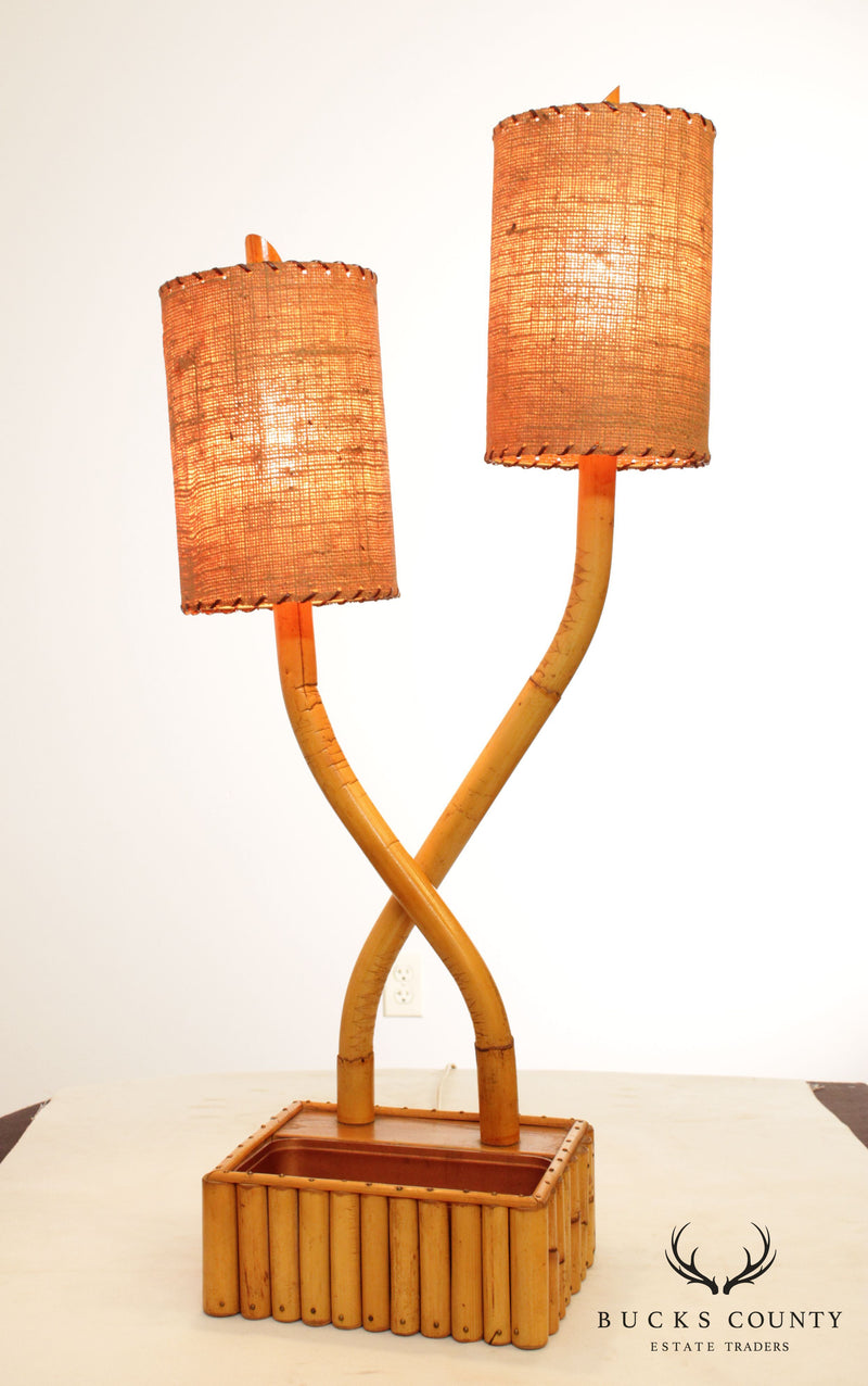 Mid Century Modern Bamboo 2 Light Table Lamp