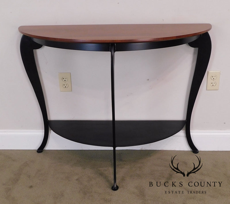 Ethan Allen Black Iron & Cherry Wood Demilune Console Table