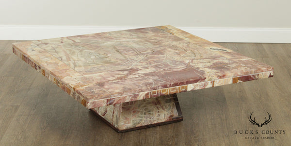Mid Century Carved Onyx Mayan Style Large Square Coffee Table